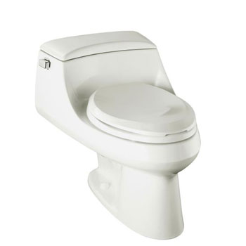 Kohler K-3466-0 San Raphael One-Piece Elongated Toilet with Concealed Trapway and French Curve Toilet Seat - White