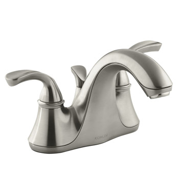 Kohler K-10270-4-BN Forte Two Handle Centerset Lavatory Faucet with Sculpted Lever Handles - Brushed Nickel