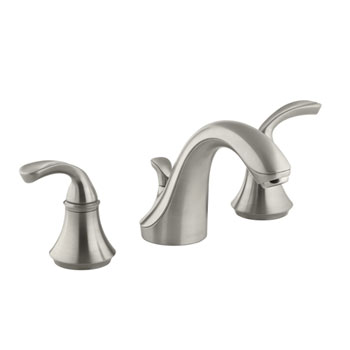 Kohler K-10272-4-BN Forte Widespread Lavatory Faucet with Sculpted Lever Handles - Brushed Nickel