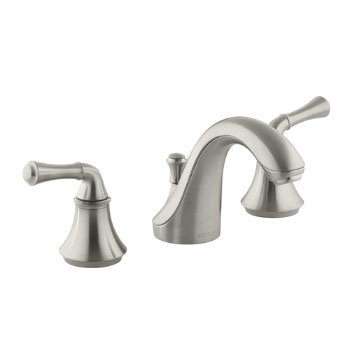 Kohler K-10272-4A-BN Forte Widespread Lavatory Faucet with Traditional Lever Handles - Brushed Nickel