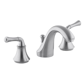 Kohler K-10272-4A-G Forte Widespread Lavatory Faucet with Traditional Lever Handles - Brushed Chrome