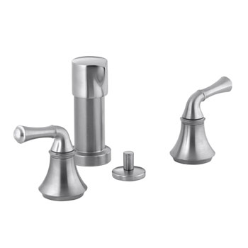 Kohler K-10279-4A-G Forte Bidet Faucet with Traditional Lever Handles - Brushed Chrome