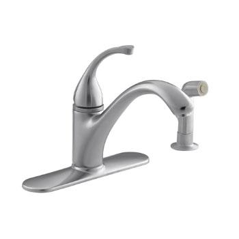 Kohler K-10412-G Forte Single-Control Kitchen Faucet w/Escutcheon & Sidespray - Brushed Chrome