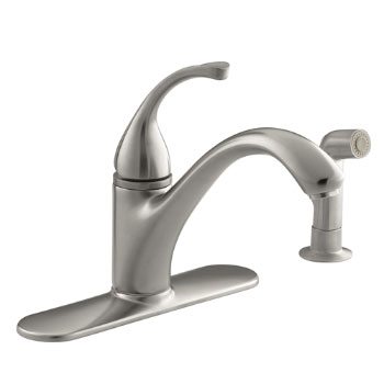 Kohler K-10412-VS Forte Single-Control Kitchen Faucet w/Escutcheon & Sidespray - Vibrant Stainless