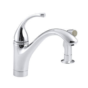 Kohler K-10416-CP Forte Single Control Kitchen Faucet with Side Spray - Chrome