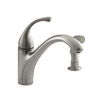 Kohler K-10416-VS Forte Single Control Kitchen Faucet with Side Spray - Vibrant Stainless