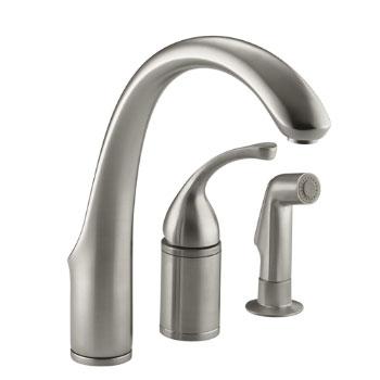 Kohler K-10430-BN Forte Single Lever Handle Kitchen Faucet with Side Spray - Brushed Nickel