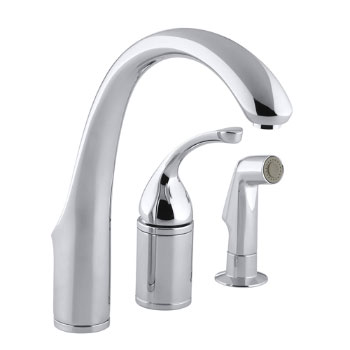 Kohler K-10430-CP Forte Single Lever Handle Kitchen Faucet with Side Spray - Polished Chrome