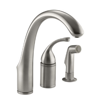 Kohler K-10430-VS Forte Single Lever Handle Kitchen Faucet with Side Spray - Vibrant Stainless