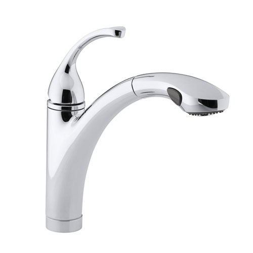 Kohler K-10433-CP Forte Single Handle Pull Out Kitchen Faucet - Polished Chrome