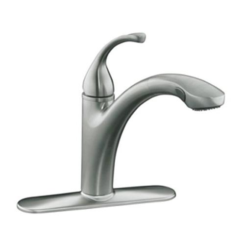 Kohler-K-10433-VS-Forte-Single-Handle-Pull-Out-Kitchen-Faucet---Vibrant-Stainless-Steel