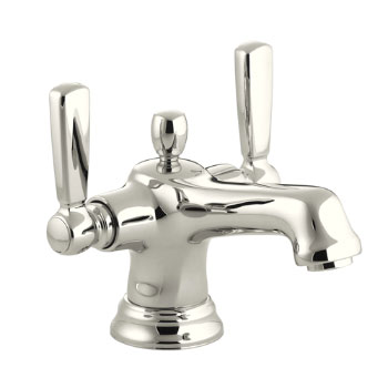 Kohler K105794SN Bancroft Monoblock Lavatory Faucet With Escutcheon And Metal Lever Handles Vibrant Polished Nickel