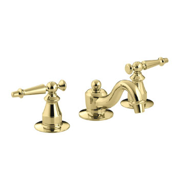 Kohler K-108-4-PB Antique Widespread Lavatory Faucet - Polished Brass