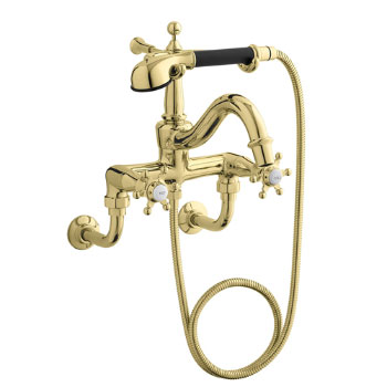 Kohler K-110-3-PW Antique Bath Faucet with Handshower - Polished Brass with White Accents (Pictured in Black Accents)