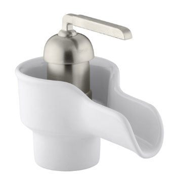 Kohler K-11000-0 Bol Ceramic Faucet - White with Brush Nickel Handle