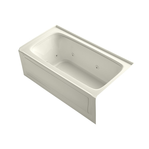 Kohler K-1151-HR-96 Bancroft 5 Foot Three Wall Alcove Jetted Tub with Right Hand Drain - Biscuit