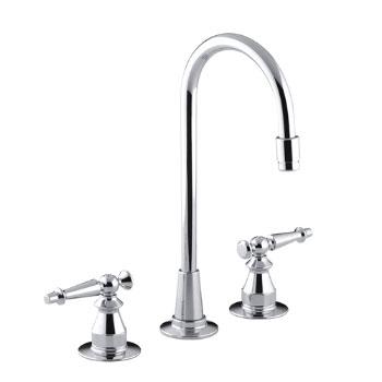 Kohler K-118-4-CP Antique Entertainment Sink Faucet w/Lever Handles - Polished Chrome
