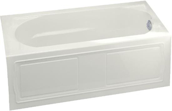 Kohler K-1184-RA-0 Devonshire Bath with Integral Apron, Tile Flange and Right-Hand Drain - White