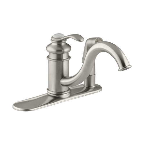 Kohler K-12173-BN Fairfax Single Handle Kitchen Faucet with Sidespray - Brushed Nickel