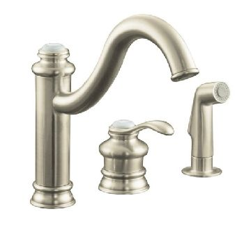 Kohler K-12185-BN Fairfax Single Control Kitchen Faucet with Side Spray - Brushed Nickel