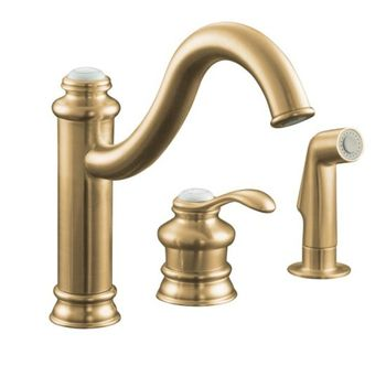 Kohler K-12185-BV Fairfax Single Control Kitchen Faucet with Side Spray - Brushed Bronze