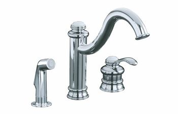 Kohler K-12185-CP Fairfax Single Control Kitchen Faucet with Side Spray - Polished Chrome