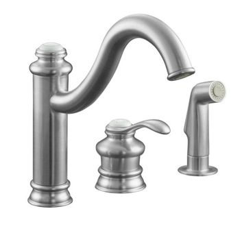 Kohler K-12185-G Fairfax Single Control Kitchen Faucet with Side Spray - Brushed Chrome