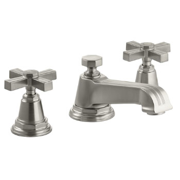 Kohler K-13132-3B-BN Pinstripe Pure Widespread Lavatory Faucet with Metal Cross Handles - Brushed Nickel