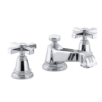 Kohler K-13132-3B-CP Pinstripe Pure Widespread Lavatory Faucet with Metal Cross Handles - Chrome