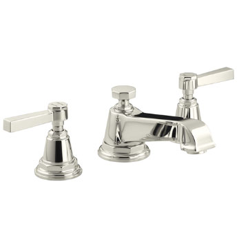 Kohler K-13132-4A-SN Pinstripe Pure Widespread Lavatory Faucet with Metal Lever Handles - Polished Nickel
