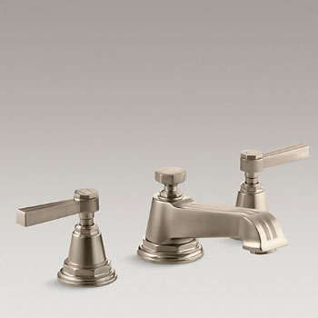 Kohler K-13132-4B-BV Pinstripe Pure Widespread Lavatory Faucet with Metal Lever Handles - Brushed Bronze
