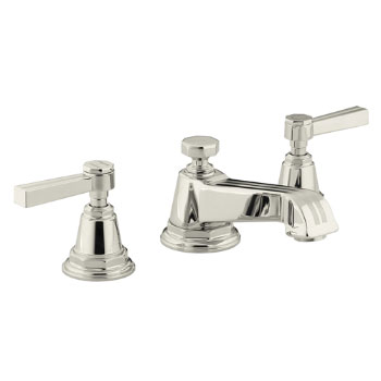 Kohler K-13132-4B-SN Pinstripe Pure Widespread Lavatory Faucet with Metal Lever Handles - Polished Nickel