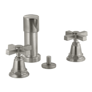 Kohler K 13142 3a Bn Pinstripe Pure Bidet Faucet With Cross Handles Brushed Nickel
