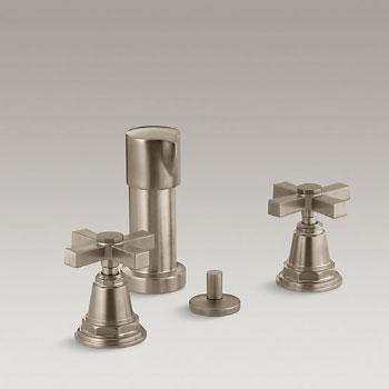 Kohler K-13142-3A-BV Pinstripe Pure Bidet Faucet with Cross Handles - Brushed Bronze