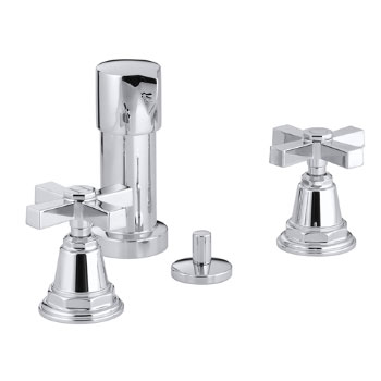 Kohler K-13142-3A-CP Pinstripe Pure Bidet Faucet with Cross Handles - Chrome