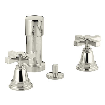 Kohler K-13142-3B-SN Pinstripe Bidet Faucet with Cross Handles - Polished Nickel