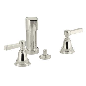 Kohler K-13142-4A-SN Pinstripe Pure Design Bidet Faucet with Lever Handles - Polished Nickel