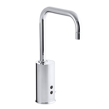 Kohler K-13472-CP Gooseneck Touchless Deck-Mount Faucet with Temperature Mixer - Polished Chrome