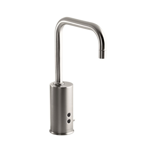 Kohler K-13473-VS Gooseneck Touchless DC Powered Lavatory Faucet with Insight Technology - Vibrant Stainless