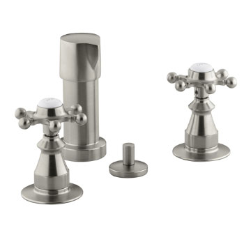 Kohler K-142-3-BN Antique Fixture-Mount Bidet Faucet w/Six Prong Handles - Brushed Nickel