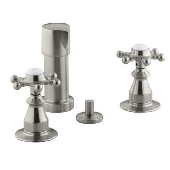 Kohler K-142-3-BN Antique Fixture-Mount Bidet Faucet w/Six Prong Handles - Brushed Nickel