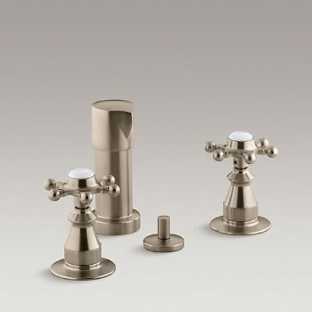 Kohler K-142-3-BV Antique Fixture-Mount Bidet Faucet w/Six Prong Handles - Brushed Bronze