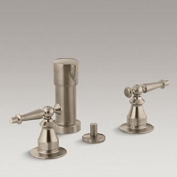 Kohler K-142-4-BV Antique Fixture-Mount Bidet Faucet w/Lever Handles - Brushed Bronze