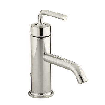 Kohler K-14402-4A-SN Purist Single Control Lavatory Faucet with Straight Lever Handle - Polished Nickel