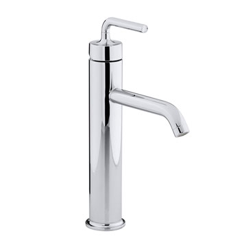 Kohler K-14404-4A-CP Purist Single Control Tall Lavatory Faucet with Straight Lever Handle - Chrome