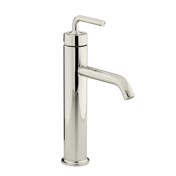 Kohler K-14404-4A-SN Purist One Handle Lavatory Faucet with Straight Lever Handle - Polished Nickel