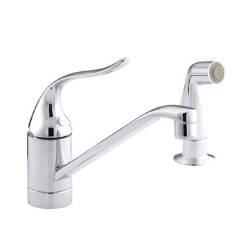 Kohler K-15176-F-CP Coralais Single Handle Kitchen Faucet with Sidespray - Polished Chrome