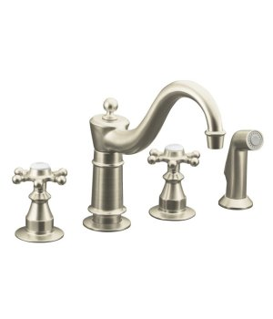 Kohler K-158-3-BN Antique Kitchen Faucet with Side Spray and 6 Prong Handles - Brushed Nickel
