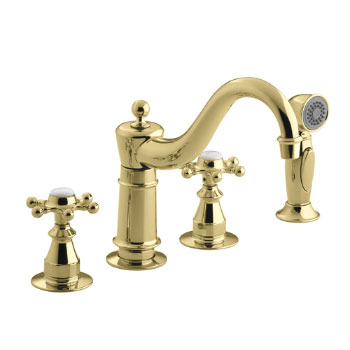Kohler K-158-3-PB Antique Kitchen Faucet with Side Spray and 6 Prong Handles - Polished Brass