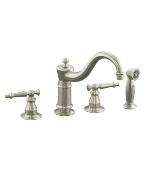 Kohler K-158-4-BN Antique Two Handle Kitchen Faucet with Side Spray - Brushed Nickel
